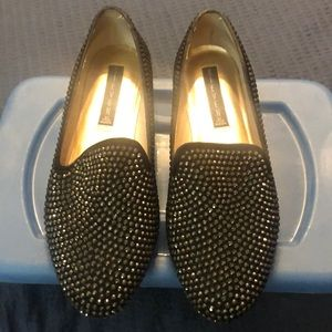 Sparkly black loafers